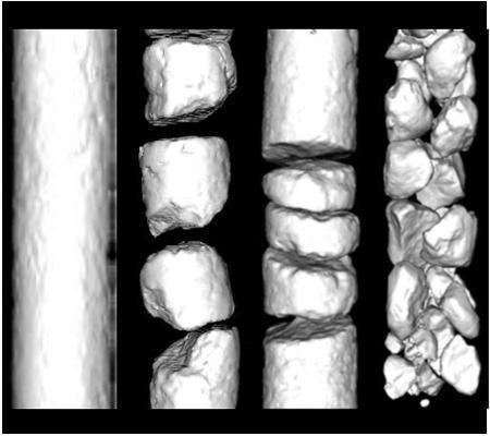 3次元X線CTスキャナーによるコアの非破壊検査。コアの表面形状、サイズ、割れ、全体の状態が把握でき、掘削パラメータの最適化にも利用される。