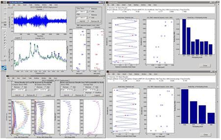 ライザー疲労モニタリングシステムの船上ディスプレイ表示の一例。左上は加速度データの時系列表示および周波数解析表示。右列は事前のモード解析データベースとの相関表示。左下は応力および疲労の鉛直プロファイル表示。