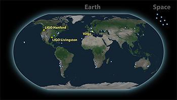 図3.中性子星合体の重力波を検出した3台の重力波望遠鏡(黄)と史上初の電磁波観測を行った宇宙と地上の望遠鏡群(青)の分布。(credit: LIGO-Virgo)