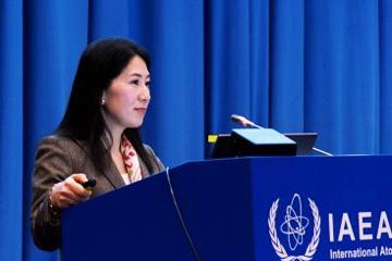 2016年2月IAEAウィーン本部での国際シンポジウムで講演する西澤真理子氏