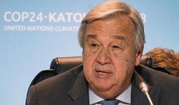 COP24で早急な温暖化対策の必要性を訴える演説する国連のアントニオ・グテーレス事務総長(提供・COP24事務局)