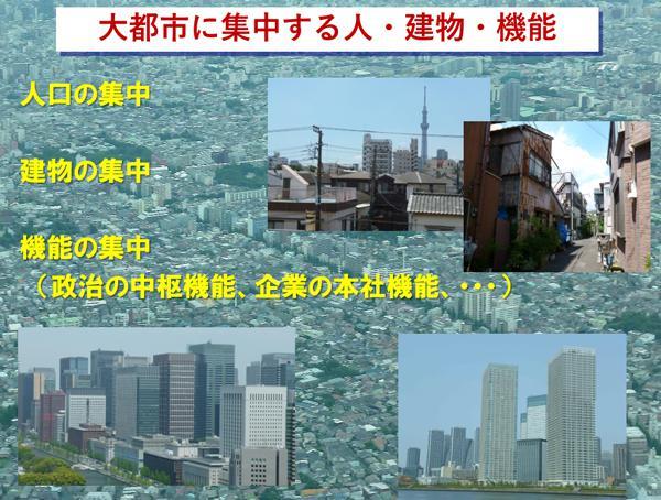図3 大都市に集中する人・建物・機能(提供・田村和夫氏)