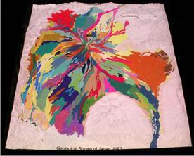 図3の模型に富士火山地質図(全噴出物)を投影した様子。