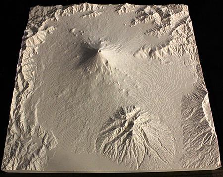 3Dプロッタで出力した地形模型(富士山)