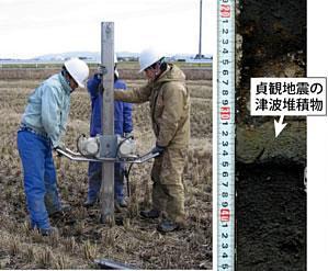 ハンディジオスライサーと呼ばれる人力掘削装置を用いた地質調査の様子とそこで抜き取られた地層の写真