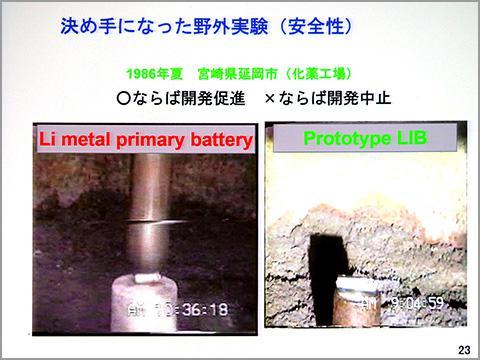 「決め手になった野外実験(安全性)」のスライドでは、試験のようすが動画で流れた。一次電池のリチウム電池(左)は試験で火が出てしまうが、リチウムイオン電池(右)は何も起きなかった。リチウムイオン電池が誕生した瞬間はこのときだったという。