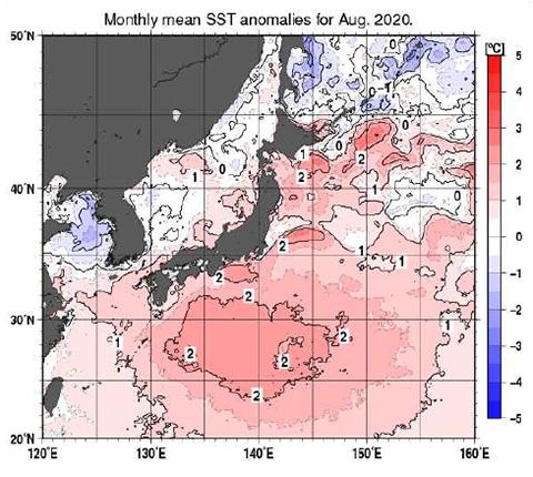 8月の平均海面水温偏差(平年平均との差)。西日本の南方の太平洋海域で今年の海面水温が高いことを示している(気象庁提供)