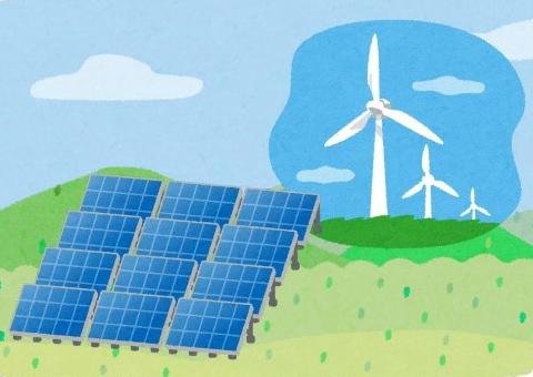 太陽光発電や風力発電のイラスト((C)いらすとや)