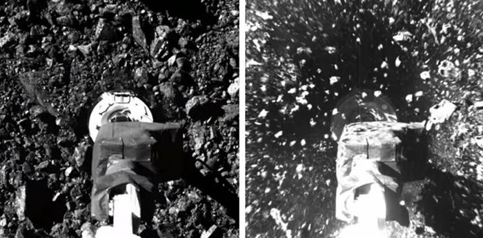 オシリス・レックスのカメラが捉えた着地の様子。機体が降下し(左)、ロボットアームの先端がベンヌの地表に触れると、小石などが舞い上がった(NASA、米アリゾナ大学提供)