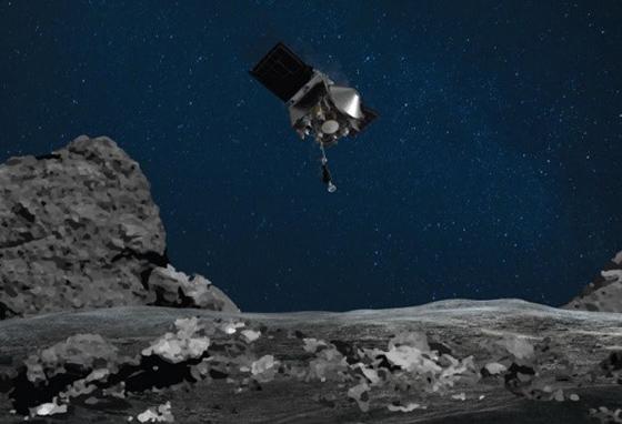 ベンヌへと降下するオシリス・レックスの想像図(NASA、米アリゾナ大学提供)