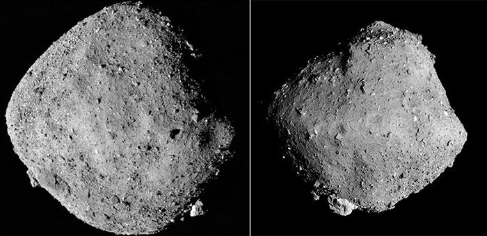 左が小惑星ベンヌ(NASA、米アリゾナ大学提供)、右がりゅうぐう(JAXA、東京大学など提供)。形や表面の様子が、互いにそっくりだ