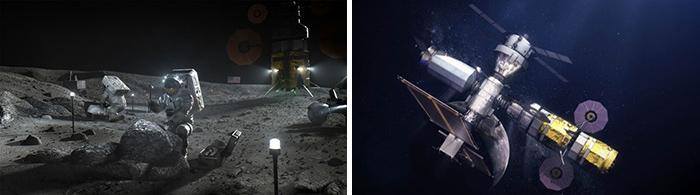 月面で活動する飛行士(左)と、月上空を周回する基地(いずれも想像図、NASA提供)