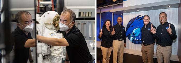 出発を控えた野口飛行士。コロナ対策でマスクをつけながらの訓練(左)と、クルードラゴンに同乗する米国人らとの会見(いずれもJAXA、NASA提供)