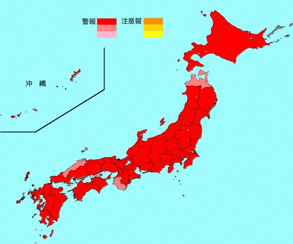 1月21〜27日の1週間のインフルエンザ流行マップ。全都道府県が警報レベルになっている(国立感染症研究所提供)