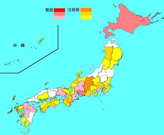 昨年12月24日から1週間のインフルエンザ流行マップ(国立感染症研究所提供)