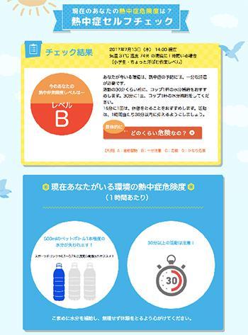 図2.熱中症セルフチェックの判定結果(https://www.netsuzero.jp/selfcheckから進める判定ページ)。ここでは、判定は熱中症の予防を確実に保障するものではないので、体調不良を感じたら判定結果にかかわらず受診してほしいと呼びかけている。