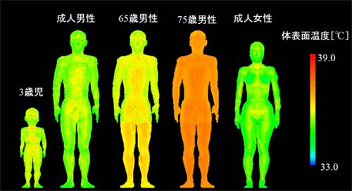 図3.年齢・性別を考慮した5つの温熱人体モデルで、2014年7月25日の東京における身体の状態を評価した例(2015年プレスリリースより)