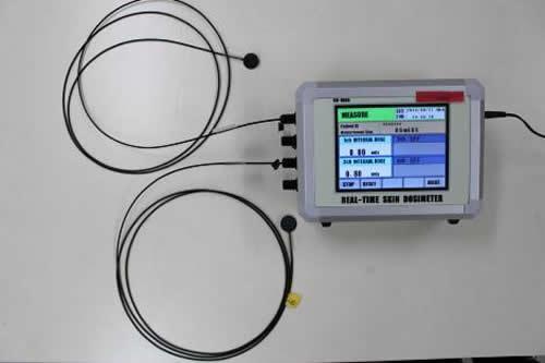 マルチセンサー型リアルタイム患者被ばく線量計。X線入射皮膚面に貼付するセンサー(左)は4カ所まで同時測定が可能。