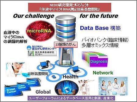 体液中マイクロRNA測定技術基盤開発のプロジェクトのイメージ図