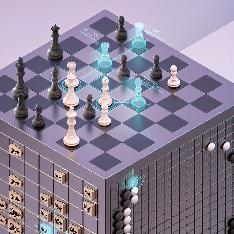 ディープマインド社が開発した「アルファゼロ」の成果を示すイメージ画像(提供・ディープマインド社)