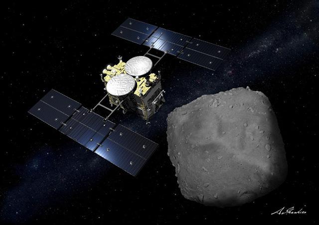 小惑星「りゅうぐう」を探査する「はやぶさ2」の想像図(JAXA、池下章裕氏提供)