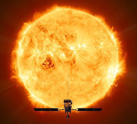 太陽に向かう探査機「ソーラーオービター」の想像図(ESA / ATG medialab提供)