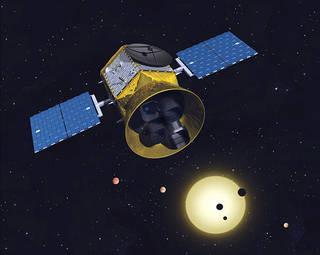 観測中のTESSの想像図(Credits: MIT / NASA)
