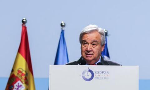 COP25で演説する国連のグテーレス事務総長(COP25事務局提供)