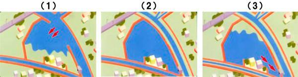 (1) 洪水で川があふれそうになった時、洪水を一段低い越流堤から遊水地に流し込む。(2) 洪水を遊水地に一時貯め込む。(3) 河川の水位が下がった時点で排水門を使って少しずつ川に流しいく(国土交通省関東地方整備局京浜河川事務所提供)