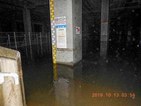 1階駐車場部分が冠水した日産スタジアム(横浜市体育協会提供)