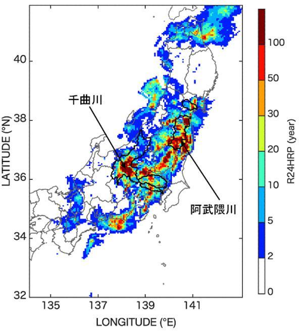 地域ごとに「何年に1度」の大雨が降ったかを示す解析図(右軸は年数)(防災科研提供)