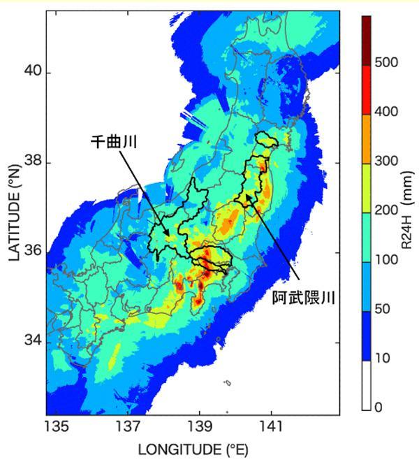 地域ごとの降雨量(10月13日0時時点の24時間降雨量)(防災科研提供)