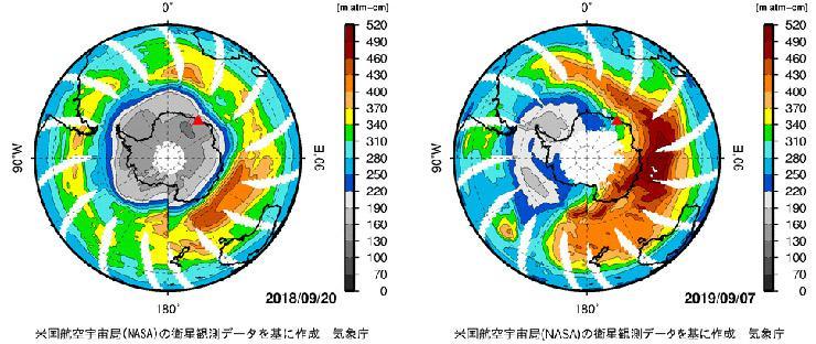 灰色の領域(220m atm-cm以下)がオゾンホール(白色は欠測)。2018年は南極大陸をほぼすっぽりと覆っている(左)。2019年はオゾンホールの形が細くゆがみ、南極半島と南米大陸付近に分布している(右)。赤い▲印は日本の昭和基地(いずれもNASA提供のデータをもとに気象庁が作成/提供)