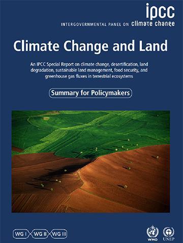 特別報告書「Climate Change and Land(気候変動と土地)」の表紙(IPCC提供)