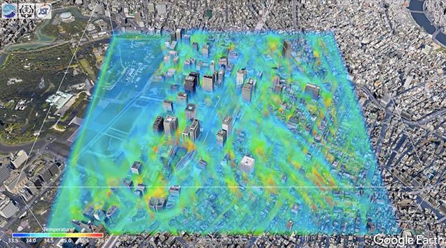 青や緑色がベースのエリア(35℃以下)のあちらこちらに、?〜赤色(35℃以上)が炎のようにゆらゆらと立ち上る(名古屋工業大学、JAMSTEC、JSTの研究グループ提供)