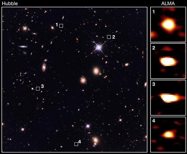 今回観測をした領域のハッブル宇宙望遠鏡による画像(左)と、アルマ望遠鏡により観測された巨大星形成銀河の画像(右)。サブミリ波では明るく輝いているが、可視光で最も感度の高いハッブル宇宙望遠鏡による観測では全くなにも写っていないことが分かる(東京大学/CEA/国立天文台提供)
