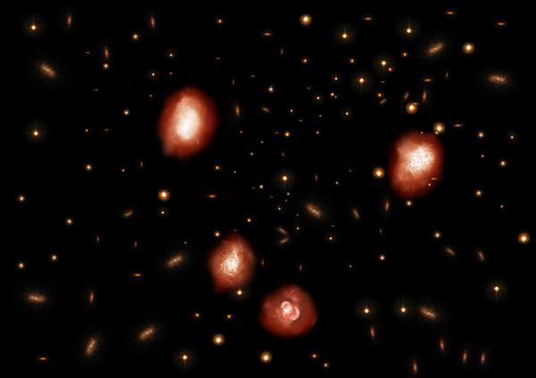 アルマ望遠鏡で観測された、110億年以上過去の宇宙に存在する巨大星形成銀河の想像図(図中にある4つの大きい銀河)。多量の塵(ちり)を含み、その中で爆発的に星が生み出されており、やがて巨大楕円銀河へと進化していくことが予想される。(国立天文台提供)