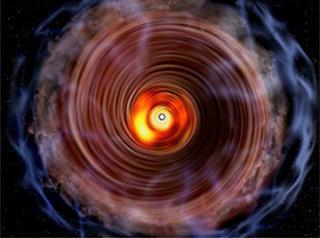 アルマ望遠鏡での観測を基に描かれた巨大原始星「G353.273+0.641」の想像図。中央にある原始星を取り巻く円盤を真上から見下ろすような位置関係にあり、円盤の構造をはっきり見分けることができる(国立天文台提供)