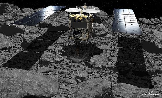 小惑星「りゅうぐう」地表付近に到達した「はやぶさ2」想像図(JAXA/池下章裕氏提供)