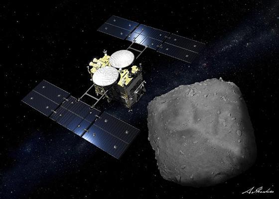 小惑星「りゅうぐう」上空の「はやぶさ2」の想像図(JAXA/池下章裕氏提供)