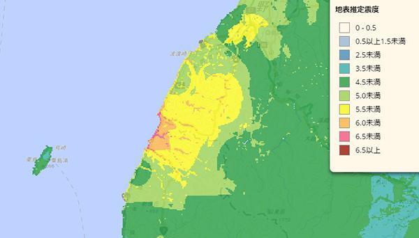 防災科学技術研究所が公表した山形県沖地震の地表推定震度の地図(提供・防災科学技術研究所)