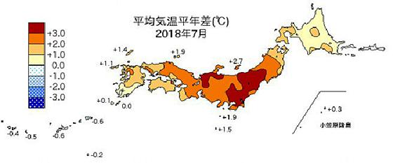 平成30年7月における地上の月平均気温平年差(提供・気象庁気象研究所/東京大学大気海洋研究所)