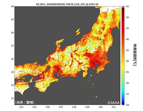 地球観測衛星「しきさい」が2018年8月1日午前10時40分ごろに観測した地表面温度(提供・JAXA)