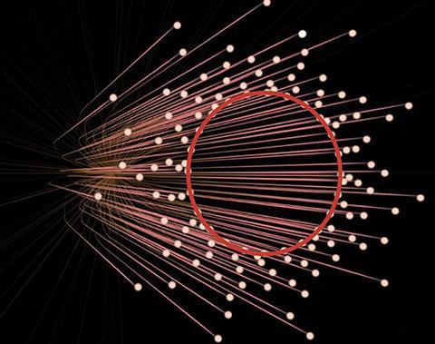 地球に向かってくる光の経路を斜めから見た図。内側のある一定範囲では光がやってこないことが分かる。これが、ブラックホールの影(提供・Nicolle R. Fuller/NSF、 EHT Collaboration)