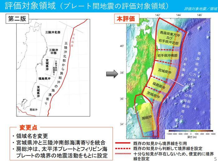 地震発生確率の対象領域(提供・地震調査委員会)