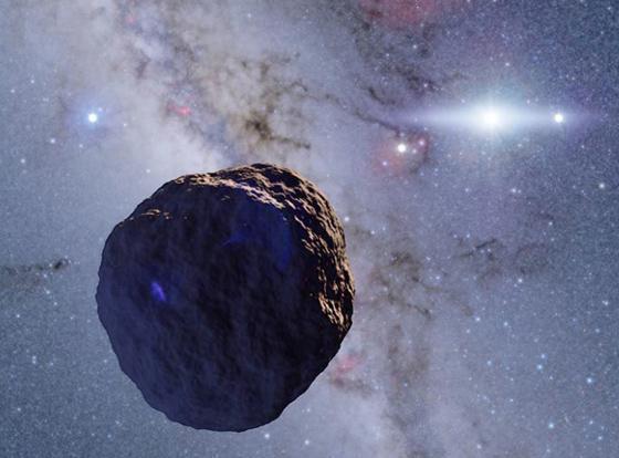 今回発見された小天体の想像図。半径約1.3キロメートルで、惑星の材料が生き残ったものと考えられる(提供・国立天文台などの研究グループ/Credit: Ko Arimatsu)