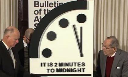 今年の「終末時計」を発表する関係者(提供・米誌「ブレティン・オブ・ジ・アトミック・サイエンティスツ」)