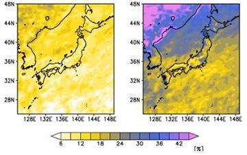 図 日本周辺で、1年のうち1日にもっともたくさんの雨が降る日の降水量(年最大日降水量)は、地球の平均気温が2度上がる2040年前後(2030〜2050年)には1951〜2010年の1割以上増える(左)。4度上がる世紀末(2080〜2100年)には、2割増しに達する(右)。(藤田さんら研究グループ提供)