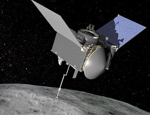 小惑星「ベンヌ」で試料採取中の無人探査機「オシリス・レックス」の想像図(提供・NASA)