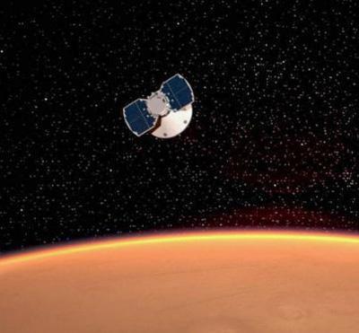 火星に接近する「インサイト」の想像図(提供・NASA / JPL-Caltech)